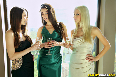 Lesbians drinking wine