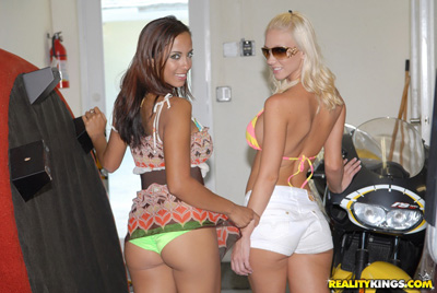 Horny lesbian friends showing off